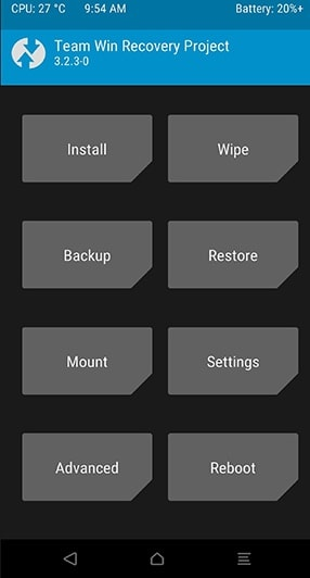 TWRP Recovery Page